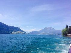 Lake of Lucerne, Switzerland, Blick vom Schiff Luzern-Viznau auf dem Weg zur Rigi, Schweizer Schifffahrtsgesellschaft