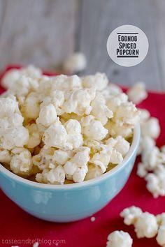 A light eggnog flavor makes this Eggnog Spiced Popcorn a family friendly holiday treat. Popcorn Snacks, Flavored Popcorn, Gourmet Popcorn, Popcorn Recipes, Snack Recipes, Popcorn Shop, Sweet Popcorn, Popcorn Bowl, Dessert Recipes