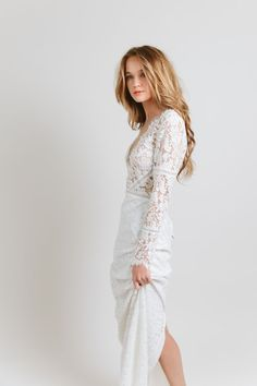 Venice by Sarah Seven available at The Bridal Atelier www.thebridalatelier.com.au #sheisthebridalatelierbride || Mesh long sleeve lace wedding dress with fitted silk skirt || With Love, TBA xo.