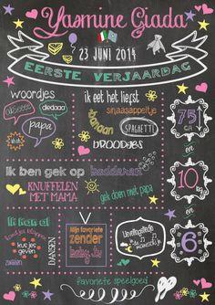 Zoet en vrolijk; eerste verjaardagsbord voor meisje Yasmine!