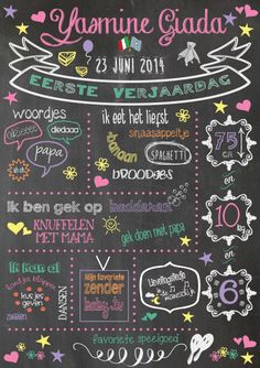 ~Zoet en vrolijk; eerste verjaardagsbord voor meisje Yasmine~