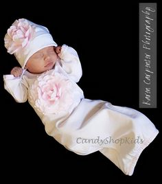 Take Home Outfit for Baby Girl- White/Light Pink-candy shop kids, gown, white, girl, flower, pink, take home outfit, newborn, infant, photo, pictures, baby shower gift, trendy, baby boutique