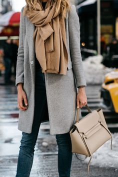 NYFW Fall/Winter 2017, Street Style, Grey Coat, Tan Blanket Scarf, Denim Skinny Jeans, Celine Tie Handbag