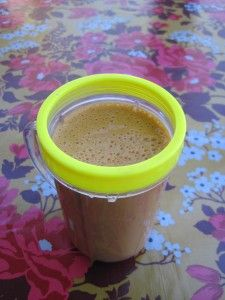 Carrot, banana, almond butter smoothie  1 cup carrot juice (if you have a juicer or Vita-Mix, make your own!)  1 banana  1/2 cup almond or soy milk  1-2Tbsp almond butter  pinch cinnamon  pinch nutmeg  Blend it all up and enjoy!