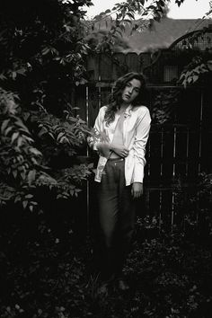During quarantine, I photographed womens fashion and portraiture in my own backyard using a muslin backdrop from savage universal and the natural foliage of my Charleston SC home. Glennon wears a silk blouse and a vintage trouser in this womens fashion lookbook by Brian D Smith Photography Outdoor Portrait Photography, Photography Tags, Outdoor Portraits, Editorial Photography, Best Photographers, Portrait Photographers, Muslin Backdrops, Backdrop Stand, Portrait Inspiration
