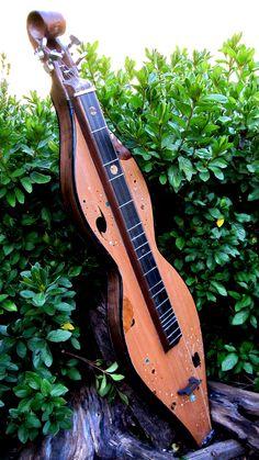 """Parallel Worlds II"" -- Four-string mountain dulcimer in spruce, ebony and Transylvania County,NC, walnut"