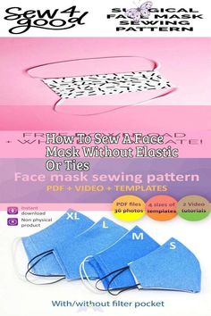 How To Sew A Face Mask Without Elastic Or Ties Easy to Make a No-Sew Face Mask Free Pattern - Agnes Creates. Learn how to make a no-sew face mask from a t-shirt! Get a free printable pdf pattern for a no-sew face mask in adult and child size! #facemask #mascaras  #maschere #masken #masks #masques #mask #facemasks<br> Diy Mask, Diy Face Mask, Face Masks, Pocket Pattern, Free Pattern, Crochet Braid Styles, Crochet Faces, Acne Face Mask, Sewing Patterns