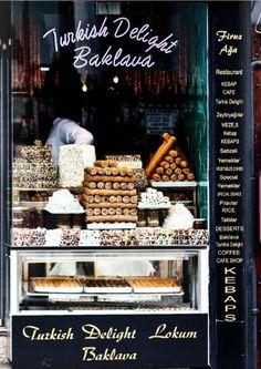 Istambul sweet shop and restaurant Turkish delight is the worst tasting stuff. Bakery Cafe, Cafe Restaurant, Boutiques, Café Bistro, Cafe Shop, Turkish Delight, Shop Fronts, Turkish Recipes, Coffee Cafe