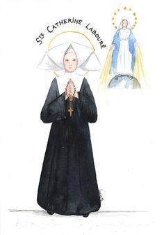 catherine laboure | Aquarelle de sainte Catherine Labouré - Dessine-moi...