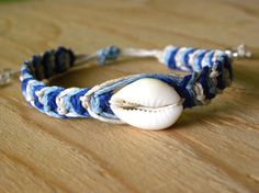 Blue Shell Hemp Bracelet - Macrame Hemp Bracelet with Cowrie Shell - Nautical Beach Jewelry - Natural Eco Jewelry - Adjustable, Unisex. $7.00, via Etsy.
