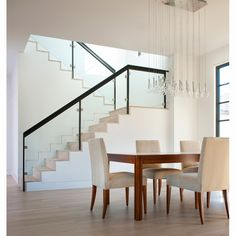 Modern Stair Railing, Staircase Railings, Glass Stair Railing, Glass Stairs Design, Staircase Glass, Staircase Design Modern, Home Stairs Design, Staircases, Interior Stairs
