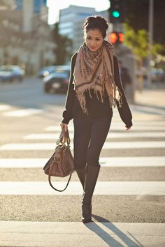 Black from head to toe, with khaki print Chloe BIG scarf, and awesome leather bag...LOVE!  Top :: Marc Jacobs  Bottom :: Citizen of Humanity  Shoes :: Christian Louboutin  Bag :: Chloe 'Paraty'