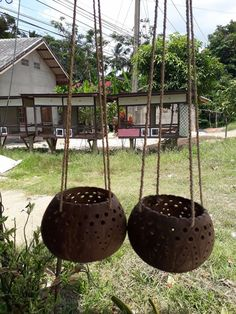 2 Pcs Small Size Coconut Shell Busket Hanging Pot Planter For Flower Orchid #Unbranded