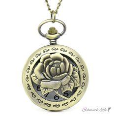 XXL vintage Taschenuhr mit Rose inkl. Halskette im...
