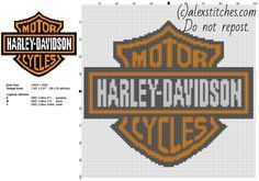 Harley Davidson Motorcycles logo free cross stitch pattern