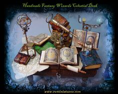Awesome #Miniature Wizard's Desk - must do for witchy dollhouse!
