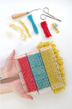 Learn the basics of working a latch hook project from square one, so you can try this fun craft for yourself (and use up your yarn ends in the process)!