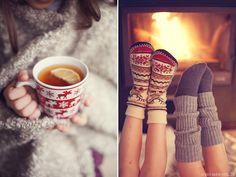 My evening ritual in the winter. Hot tea & fuzzy socks!