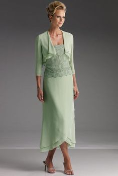Tea Length Mother of the Bride Dress 110617 by Mon Cheri Cameron Blake at frenchnovelty.com