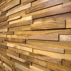 "3D Stacked Oil Finished Natural Acacia 7.5"" Walling from HardwareBargains.com - peel & stick"