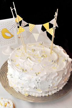 Yellow & Gray Bird Themed Baby Shower - love the bunting & coloured pearls