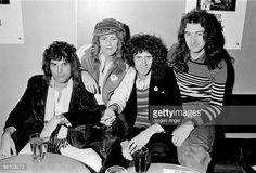 British rock group Queen posed in Copenhagen Denmark in November 1974 Freddie Mercury Roger Taylor Brian May John Deacon Photo by Jorgen Angel