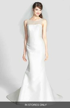 Amsale 'Preston' Silk Magnolia Sheath Wedding Dress (In Stores Only)
