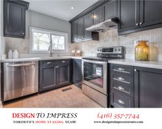 Kitchen in North York house, simply staged to sell for a high ROI, via Toronto's home staging company, Design to Impress!