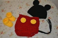 Mickey inspired diaper cover booties and beanie
