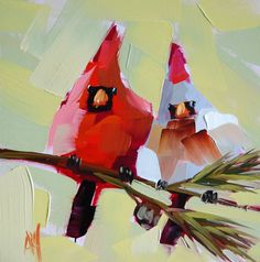 Two Cardinals original cardinal bird oil painting by Moulton 8 x 8 inches on panel  prattcreekart