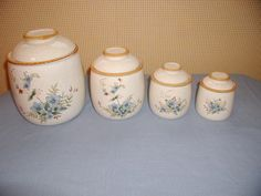 "MIKASA GARDEN CLUB ""DAY DREAMS"" EC461 CANISTER SET WITH LIDS JAPAN. FOR SALE IN MY BLUJAY STORE. http://www.blujay.com/?page=ad&adid=4365543&cat=28040506"
