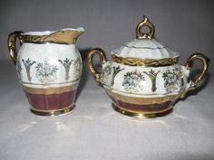 Sterling China Pearl Luster Sugar & Creamer Set Gold Designs On White 1940- #SterlingChinaCo