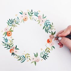 New wreath in progress ✍️   #illustration #painting #watercolor #floralwreath