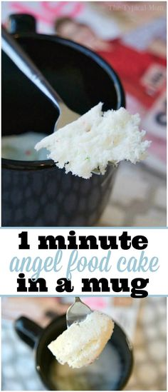 Easy Angel Food Cake in a Mug recipe that takes just 1 minute and it's done to perfection! Perfect dessert in a mug for one treat. ADV via @thetypicalmom