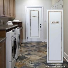 Laundry Room Doors by Sans Soucie! Spruce up your laundry room with a beautiful etched glass door you CUSTOMIZE ONLINE! 8 woods, slab, prehung, glass only. Laundry Room Doors, Small Laundry Rooms, Hallway Designs, Hallway Ideas, Etched Glass Door, White Staircase, Small Hallways, Scandinavian Kitchen, Luxury Decor