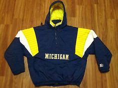 16f89f859 vintage starter michigan wolverines pullover hooded puffy jacket mens size  large