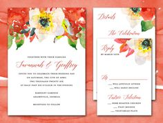 Printable Wedding Invitation Suite, PDF Wedding Invitation Set, Tabitha Watercolor Floral Red Wedding Invitation, Printable Wedding Invite