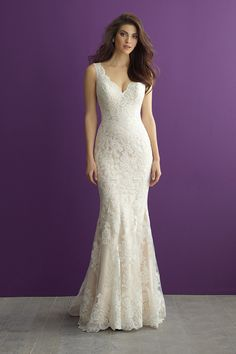 Classic V-neck lace wedding dress with scalloped neckline - Style 2956 from @allurebridals