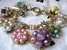 charm bracelet from vintage earings