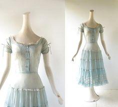 1950s Blue Dress Alpine Maiden 50s Dress XXXS XXS