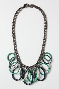 Silver Rung Necklace  #anthropologie I've seen this look in a magazine - rings were made from seed beads