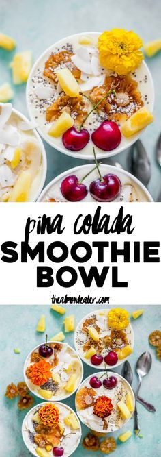 Piña Colada Smoothie Bowl | A healthy TWO ingredient smoothie that is the perfect combo of pineapple and coconut! | /search/?q=%23vegan&rs=hashtag | http://thealmondeater.com