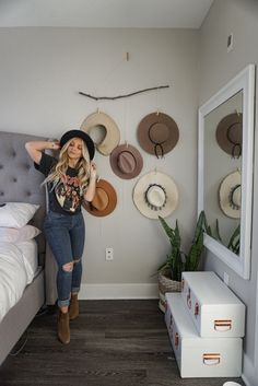 DIY hat organizer – Busy Being Blake storage ideas Diy Outfits, Mode Outfits, Fashion Outfits, Outfits With Hats, Outfits For Vegas, Summer Cowgirl Outfits, Target Outfits, Band Tee Outfits, Cowgirl Style Outfits