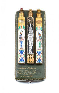 1920s Ahmed Soliman Set of 3 Crystal Perfume Bottles : Lot 200