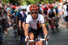 JULY 28: Tony Martin of Germany leads the peloton up the climb of Box Hill of the Men's Road Race Road Cycling on day 1 of the London 2012 Olympic Games on July 28, 2012 in London, England. (Photo by Bryn Lennon/Getty Images)