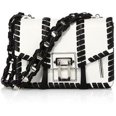 Proenza Schouler Hava Whipstitched Leather Chain Shoulder Bag ($2,360) ❤ liked on Polyvore featuring bags, handbags, shoulder bags, apparel & accessories, leather purses, white purse, leather handbags, genuine leather purse and leather shoulder handbags