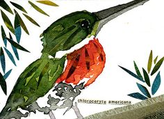ACEO ORIGINAL WATERCOLOR BIRD SERIES GREEN KINGFISHER | aceo watercolor | Carol Kroll Art