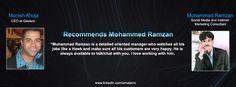 Munish Ahuja CEO at Geelers Recommends Muhammad Ramzan Social Media & Internet Marketing Consultant.