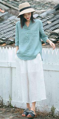 4663529734b55 Fashion Button Down Linen T Shirt Women Summer Casual Tops S7088 Fashion  Top