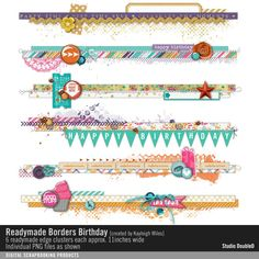 Readymade Borders: Birthday scrapbook element clusters for horizontal border strips and edges #designerdigitals